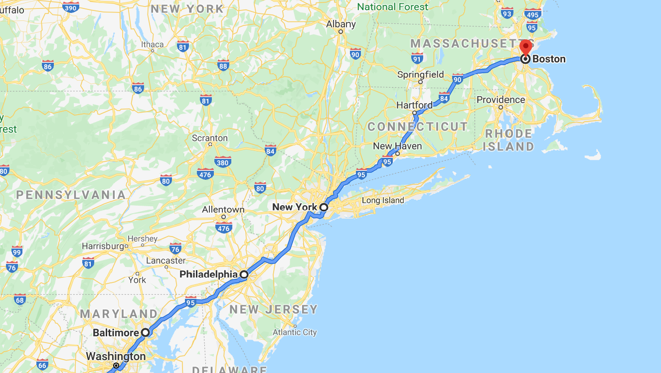 North east US road trip route